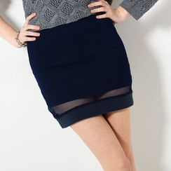 YesStyle Z - Mesh Overlay Pencil Skirt