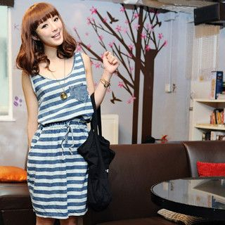 59 Seconds - Drawstring Sleeveless Striped Dress