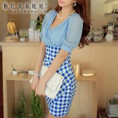 Dabuwawa - Shirred Check-Panel Dress