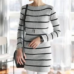 CHICFOX - Striped Long Knit Top