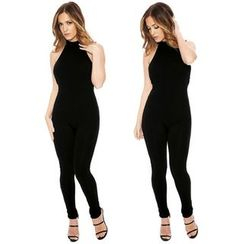 Hotprint - Open Back Halter Jumpsuit