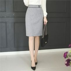 ode' - Contrast-Trim Pencil Skirt