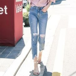 Leewiart - Distressed Cropped Jeans