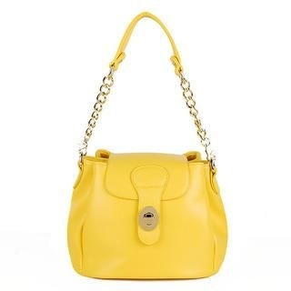 Heilin - Buckled Chain-Strap Bucket Shoulder Bag