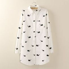 Tangi - Whale Printed Long-Sleeve Blouse