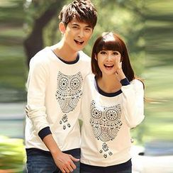 Igsoo - Couple Long-Sleeve Owl Print T-Shirt