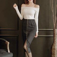 Aurora - Set: Top + Striped Skirt