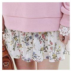 Sechuna - Floral Pattern Pleated Chiffon Mini Skirt