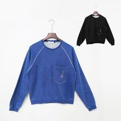 Mr. Cai - Long Sleeve Pocket Embroidered Sweatshirt