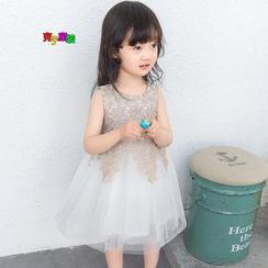 Cuckoo - 小童无袖蕾丝边薄纱连衣裙