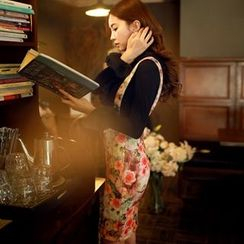 Dabuwawa - Suspender Floral Pencil Skirt