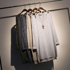 somniaa - Melange Cut Out Shoulder Long Sleeve Tunic