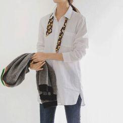 JUSTONE - Tab-Sleeve Long Cotton Shirt
