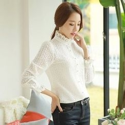 Styleonme - Frill-Neck Sheer Lace Blouse
