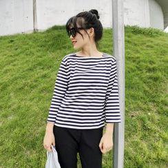 HELLO KANO - Stripe 3/4-Sleeve Top
