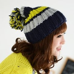 59 Seconds - Color Block Pompom Beanie