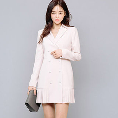 chuu - Faux-Pearl Button Pleat-Hem Mini Coatdress