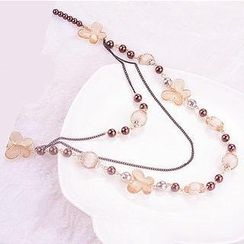 Best Jewellery - Butterfly Beaded Layered Necklace