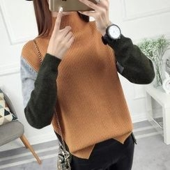 anzoveve - Color Block Mock Neck Sweater