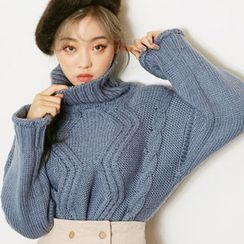 chuu - Turtle-Neck Cable-Knit Sweater