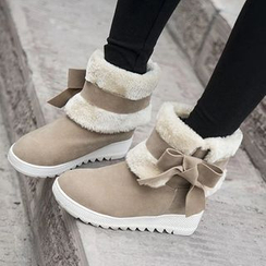 Pastel Pairs - Fleece Bow Hidden Wedge Short Boots