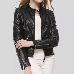 BOHIN - Faux Leather Biker Jacket