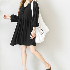 NANING9 - Puff-Sleeve Yoke Dress