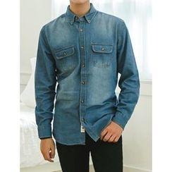 STYLEMAN - Long-Sleeve Washed Denim Shirt