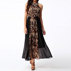 Rebecca - Embellished Leopard Print Halter Maxi Dress
