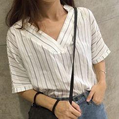 MATO - Short-Sleeve V-Neck Striped Blouse