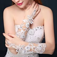 Nymphie - Crochet Lace Wedding Gloves