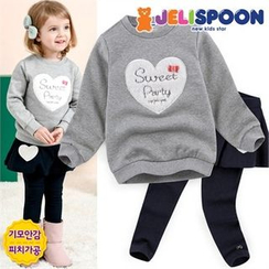 JELISPOON - Girls Set: Brushed Fleece Lined Heart Sweatshirt + Inset Skirt Leggings
