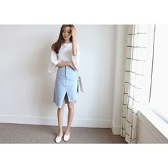 Hello sweety - Asymmetric-Hem Denim Skirt