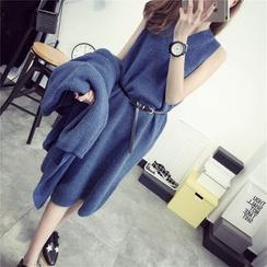 TIMI - Set: Plain Long Cardigan + Knit Tank Dress