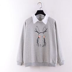 Tulander - Rabbit Print Collared Sweatshirt