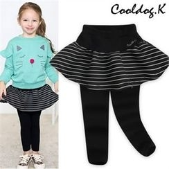 WALTON kids - Girls Inset Stripe Neoprene Skirt Leggings