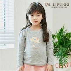LILIPURRI - Girls Shirred-Shoulder Illustration T-Shirt