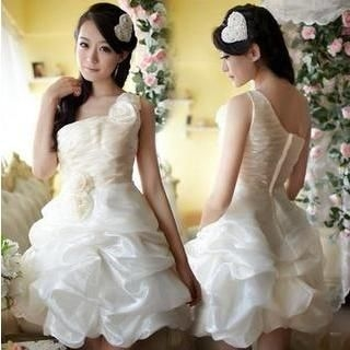 Fantasy Bride - One-Shoulder Rosette Prom Dress