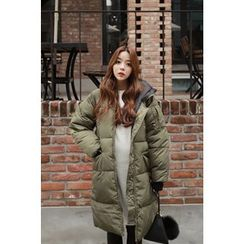 Momnuri - Maternity Hooded Puffer Long Coat