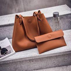 BAGSHOW - 套装: 人造皮手提袋 + 小袋