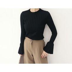 DANI LOVE - Frill-Sleeve Rib-Knit Top