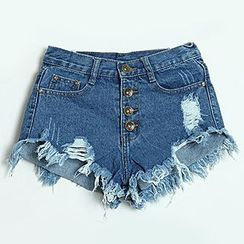 Reis - Distressed Denim Shorts