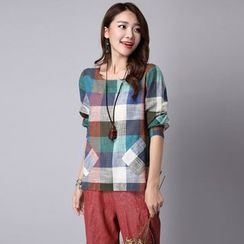 Supernova - Long-Sleeve Plaid T-Shirt