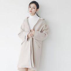 Porta - Plain Lapel Knit Coat