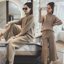 Dreamy Kiss - Set: Mélange Mock Neck Sweater + Wide-Leg Pants