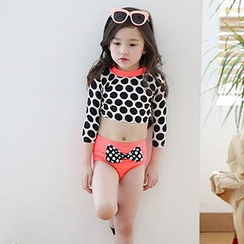 Sweet Splash - Kids Set: Dotted Cropped Rashguard + Bow Accent Swim Bottom