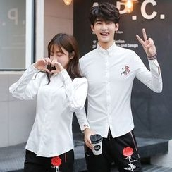 Azure - Couple Matching Flower Embroidered Shirt