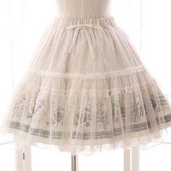 Reine - 薄纱覆层印花A字裙
