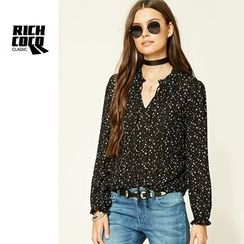 Richcoco - 印花V領雪紡襯衫