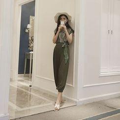 氣質淑女 - 套裝: 印花雪紡上衣 + 風琴褶闊腿褲